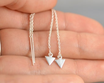 Threader Earrings, Ear thread dangles, Pull-through earring, Chain Dangle earring, Triangle threaders, Geometric jewelry, Long chain earring