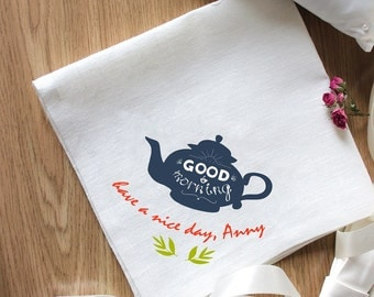 "Beautiful Embroidery ""Good Morning"" Napkins Set of 2 Napkins Eco Friendly Napkins Natural"