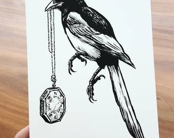 Magpie with Horcrux Locket (limited edition print)