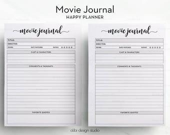 Movie Journal, Happy Planner, Movie Printable, Film Organizer, Movie List, MAMBI, Movie Tracker, Film Planner, Planner Printable