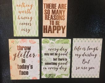 Motivatioanl Quotes Magnet Pack, Copper, Floral, Green, Pink