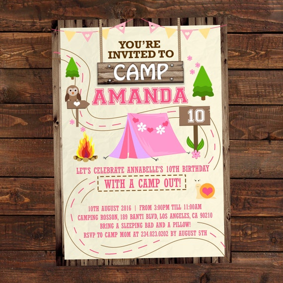 Items Similar To Printable Camping Party Invitations For