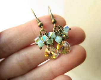 Swarovski crystal cluster dangle earrings, rainbow flashing,spring earrings, fall jewelry, cluster earrings, bohemian jewelry, boho earrings
