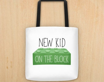 New Kid On The Block - Tote Bag - Funny Saying New Mommy Diaper Bag Baby Bags Baby Shower Gift New Mom Mommy-To-Be Totes Pun Parent Gifts