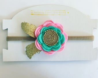Wild One Flower Feather Headband, Girls Pink Aqua Mint Gold Wild One Headband Clip, Flower Feather Teepee Party Headband, Girls Teepee Photo