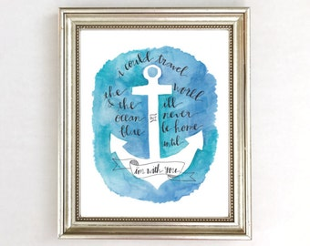 Anchor Decor Wall Art Print, Nautical Wall Decor Art Print, Nautical Nursery, Nautical Wedding, Watercolor Nautical Anchor, Navy Nursery