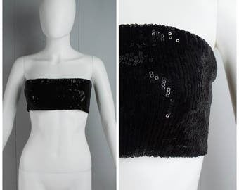 Vintage Womens Black Sequined Tube Top | Size S