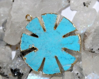 1 Pc Turquoise Flower Pendant with 24k Gold Electroplated Edges- Gold Plated Turquoise Flower Pendant - Single Loop Pendant HL24