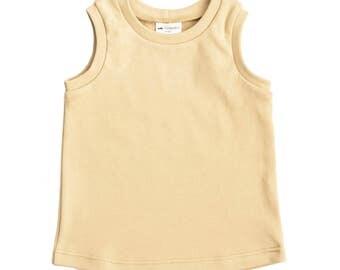 baby tank top, toddler tank top, mustard tank top, organic knit tank top, summer kids outfit, gender neutral kids top