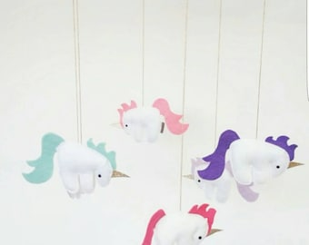 Unicorn Mobile - unique, colourful and magical - perfect for a nursery or child's bedroom