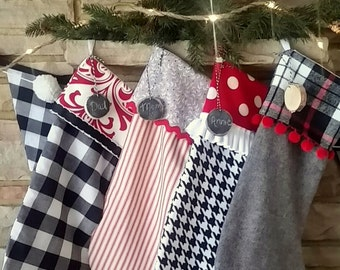 Christmas Stockings in Black, White, Grey & Red, Buffalo Check Christmas Stocking, Farmhouse Christmas,  Sliced Wood Tag With Chalk Paint,