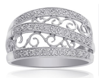 0.30 Carat Round Cut Pave Setting Diamond Scroll Ring 14K White Gold