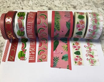 "Recollections tropical 24"" sample of one of the choices of washi tape wrapped around a plastic bobbin."
