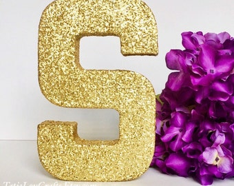 8 inch Glitter Letters, Wedding Centerpiece,Baptism Decor,Paper Mache Letters,Wedding Letters, Select Letter/Select Color. CUSTOMIZABLE
