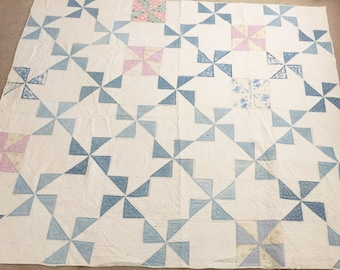 CHARMING!! 1920's Antique Vintage Hand-Made & Hand-Stitched 82x70 Blue and Orange Flour Sack Pinwheel Design Old Cotton Quilt!