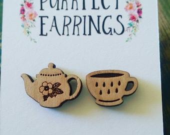 Handmade laser cut tea pot and cup bamboo stud earrings