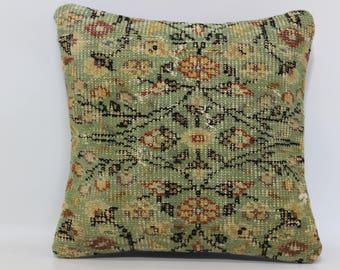 Oushak rug pillow cover vintage oushak rug handmade Turkish rug pillow cover  16x16 indoor pillow outdoor pillow green pillow SP4040-2250