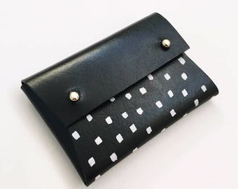 Personalised handmade mini leather pouch / business card holder - MILA painted Black and white