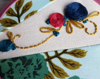 Hand Embroidered Floral Wall Art in a Vintage Embroidery Hoop