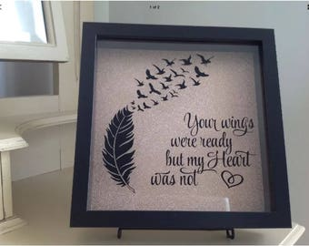 Your Wings Were Ready - Black Shadow Box with rose gold backing