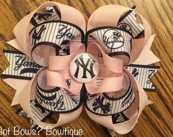 NY Yankees Stacked Boutique Bow
