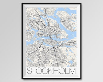 Stockholm Map Print, Fine Art Print, Modern, Minimal Wall Art for the Home Decor