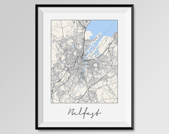 BELFAST Map Print, Modern City Poster, Black and White Minimal Wall Art for the Home Decor