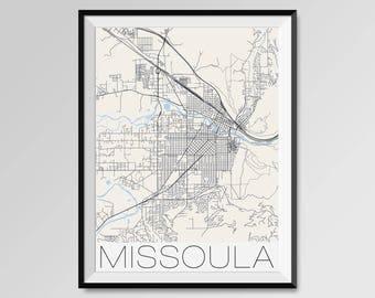 MISSOULA Montana Map, Missoula City Map Print, Missoula Map Poster, Missoula Wall Art, Missoula gift, Custom city, University of Montana