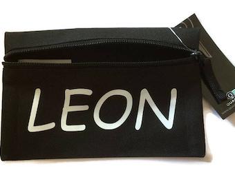 Personalizar caja de lápiz, caja de lápiz negro, escuela regalo, regalo del maestro, bolso del partido, partido fabour