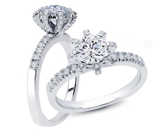 White Yellow or Rose Gold Engagement Ring Fixed Head 8 Prong .35ct Round Diamonds Semi Mount for .75 ct Center Adjustable New 14K Setting