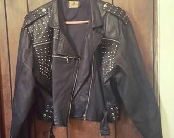 Vintage Leather Fringed Motorcycle Jacket