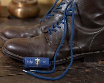 Indigo Dyed Round Braided Shoelaces / Bootlaces- Made in USA