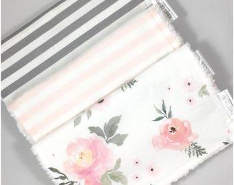 Floral Burp Cloth Set - Baby Girl Gift Set - Girl Burp Cloth - Floral - Pink - Gray - Flowers - Baby Shower Gift- Floral Nursery