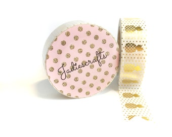 White & Gold Foil Pineapple Washi Tape