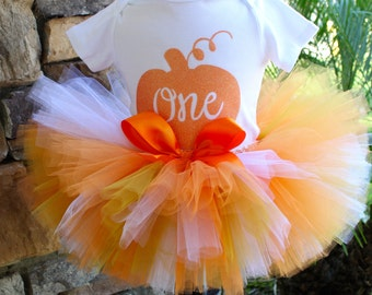 Pumpkin Patch Birthday, Fall Tutu Set, Pumpkin Tutu Set, Thanksgiving Tutu, First Birthday Tutu, Birthday Girl Tutu, Orange Tutu