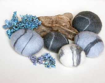 Wool felt pebbles, office decor, natural decor, eco friendly, home decor, office gift, unique gift, ornament, pure wool.