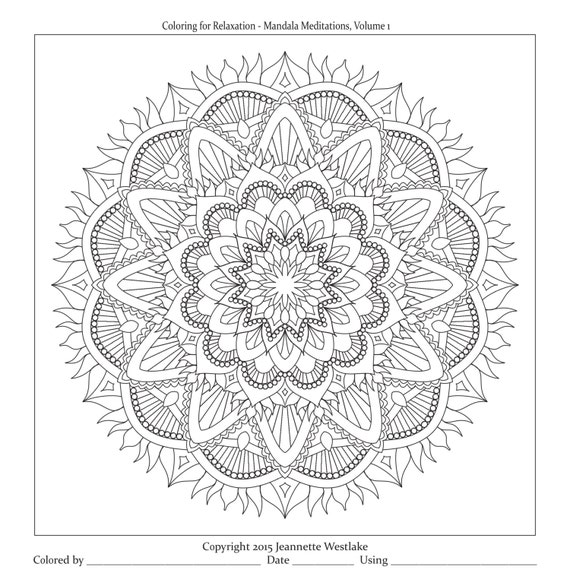 Coloring for Relaxation Mandala Meditations Vol 1 plete