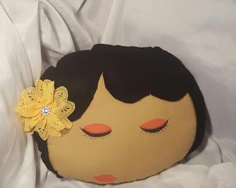 Handmade afro pillow with yellow flower