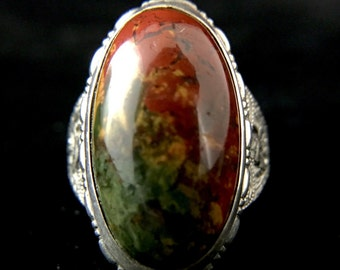 Sterling Silver Ring With Jasper Cabochon, size 5.75