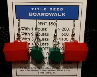 Monopoloy Earrings - Upcycled Boardgame Earrings