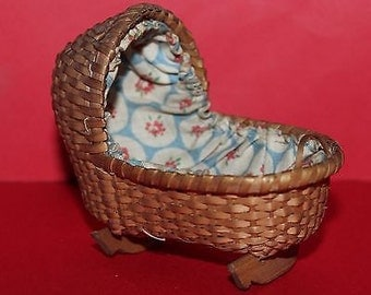 Vintage Dolls House Wicker Fabric Lined Rocking Cradle