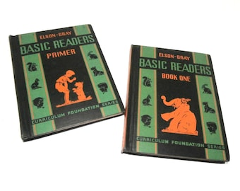 """2 Vintage Books - 1936 Elson-Gray Basic Readers """"PRIMER"""" and """"BOOK ONE"""" - Elementary School Reading Books - Educational Childs Books"""