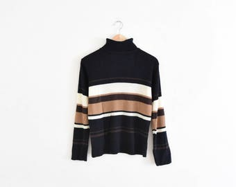 STRIPED KNIT TURTLENECK || size womens medium || 90s || lightweight sweater || long sleeve || minimal || ribbed || stretchy || vintage!