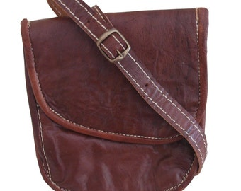 Dark Brown Leather Handmade Travel Bag with adjustable Strap Moroccan