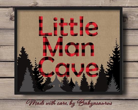 Little Man Cave Wall Art : Little man cave rustic lumberjack buffalo plaid wall art