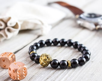 8mm - Black onyx beaded gold Lion head stretchy bracelet, made to order yoga bracelet, mens bracelet, womens bracelet