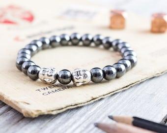 8mm - Hematite beaded stretchy silver Buddha bracelet, custom made yoga bracelet, mens bracelet, womens bracelet
