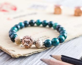8mm - Greenish chrysocolla & jasper stone beaded rose gold Lion head stretchy bracelet, bead bracelet, mens bracelet, womens bracelet