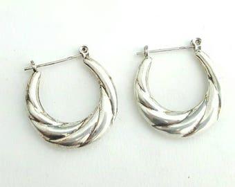 Vintage Sterling Silver Modernist Spiral Tapered Hollow Hoop Earrings