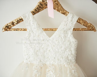 V Back Ivory Beaded Lace Champagne Tulle Flower Girl Dress Wedding Junior Bridesmaid Dress M0060